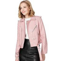 Women's Leather & Faux Ailegogo Autumn Women Jackets Lady Pu Coat Bomber Motorcycle Biker Pink Black Outerwear With Belt