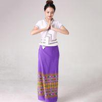 Tailandia Style Women Stage Wear Ropa de baile Oriental Traje Traje Verano Vestido elegante Festival Vestido Lady Asia Traje étnico