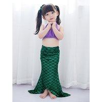 Mayo Kız Mermaid Mayo Prenses Bebek Sevimli Bikini Kuyruk Kız Mayo Kız Bölünmüş Mayo