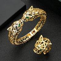 Örhängen Halsband Zlxgirl Smycken Stor Leopard Head Shape Kvinnor och män Bangle med Ring Set High Dubai Gold Bracelet Anel Bijoux Free Box