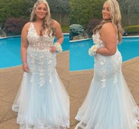 Modern Light Blue 3D Floral Flowers Plus size Prom Evening Dresses Formal Gowns 2022 Deep V neck Mermaid Tulle Backless Bridesmaid Cocktail Party Pageant Dresess