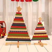 Bloki Blocks Drzewo Kreatywny Drewniany 2021 Boże Narodzenie DIY Obrotowa dekoracja domu