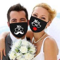 2pc Bride Groom Cotton Face Mask Maschera Coppie Amanti Mr. Mr Famiglia Guest Mask Mask Matrimonio Adult San Valentino lavabile Protezione Protezione Maschere