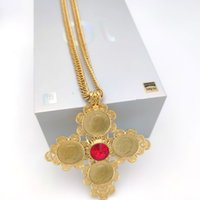 Big Coin Cross Pendants NECKLACE 22K GOLD 18ct THAI BAHT G F CUBAN DOUBLE CURB CHAIN SOLID HEAVY Jewelry RED CZ