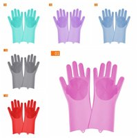Magic Silicone Dish Washing Gloves Kitchen Accessories Waterproof Dishwashing Glove Household Tools For Cleaning Car Pet Brush DBC BH3704