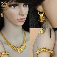 Aniid Dubai Gold Jewelry Conjuntos para Mulheres Grande Animal Índico Africano Jóias Designer Colar Anel Anel Brinco Acessórios Do Casamento