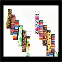 Rings Jewelrywristlet Keychains Lanyard Sunflower Leopard Serape Cactus Prints Strap Band With Split Ring Chain Holder Cool Key Fob T286 Drop