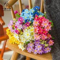 Decorative Flowers & Wreaths CYJ Chrysanthemum 28 With 7 Forks And 12 Colors Artificial Lifelike Gypsophila Wood Pot Bonsai Home Garden Orna