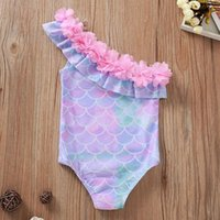 One-Pieces Kids Girl Swimsuit One-piece Children Swimwear Watermelon Little 2021 Summer Swimming Suit Ruffle Child Sea Clothes