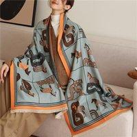 Foulards Luxe Horse Imprimer Écharpe Femmes Femmes Cachemire Pashmina Châle Wrap Foulard Couvre-tête Couverture épaisse Couverture Bandeau 2021 Designe Echaparpe