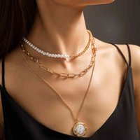 New Products Hot in Summer Pure White Imitation Flat Pearl Mosaic Necklace Women's Multi-layer Lattice Chain Neck