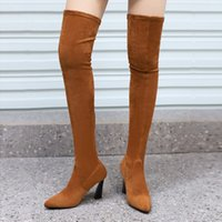 Fall 2021 Chunky Heel High Heel over the Knee Boots Womens Boots Large Size 40-43 Foreign Trade Cross-Border Chengdu Stretch Boots Caramel C