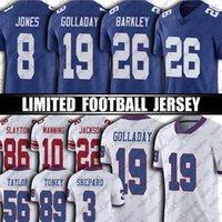 """26 사퀴 Barkley Kenny Golladay Jersey Daniel Jones Lawrence Taylor Football Jerseys 뉴욕 """"자이언츠""""10 Eli Manning Toney Shepard"""
