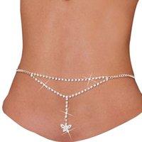 Lady Rhinestone Butterfly Cadenas de vientre Body Body Joyas para mujer Bikini Bikini Cadena cinturón Cadena de cintura Básimo Back Verano 1024 Q2