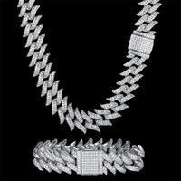 Pendant Necklaces 100% Zircon CZ Hip Hop Miami Cuban Link Chain 18mm Bramble Bracelet Men Necklace Drop Rapper Jewelry Fashion Bling