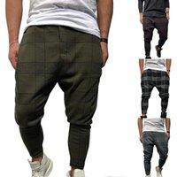 Erkekler Şık Gevşek Ekose Pantolon Baskılı Rahat Harem Pantolon Joggers Spor Pantolon Hip Hop Streetwear Pantalon Homme Erkekler