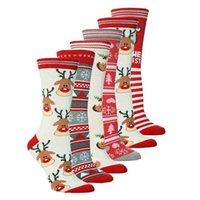 Unisex Weihnachtsstrümpfe Weihnachtsbaum Elch Print Baumwollsocken Erwachsene Teenager Mid-Calf Länge Crew Socken Santa Claus Schneeflocken Mittlere Röhre H911frgl