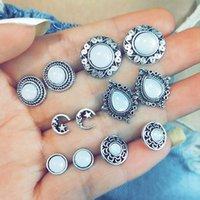 PCs / Set Vintage Opal Geometrische einfache Mond Edelstein Silber Farbe Ohrringe Set Frauen Böhmischen Charme Schmucksachen