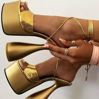 Sandals Fashion Women 2021 Summer High Heels Platform Sexy Shoes Woman Dress Party Wedding Lady Gladiator 41