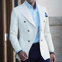 Men's Suits & Blazers White Double Breasted For Men 2 Piece Slim Fit Wedding Tuxedos Jacket With Black Pants Fashion Costumes