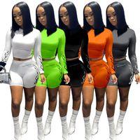 Женщины Двухструктурные наряды дизайнер Длинные рукава Футболка 2 шт. Установить боди трексуита спортивные шорты брюки спортивный костюм сплошной цвет 832