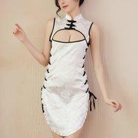 Женское белье экзотический женский Женский горячий стиль Babydoll платье эротический открытый грудь боковой сплит бандаж Cheongsam Intime Night Night Sleekwear