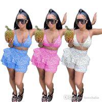 Women Fashion Casual Bandage Bikini Shorts Dot Two Piece Set Nightwear