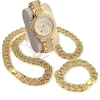 "3 Pcs  Set Blingbling Hip Hop Shining Stones Watch 24 ""Iced Out Cuban Stone Chain Bracelet Necklace Watch Set"