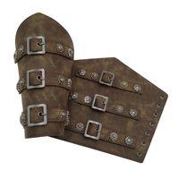 Coupeaux de genouils Pu en cuir PU Gaunet large Braceur Armure Bracelet Protecteur Cuffs String Steampunk Bangle Boucle Boucle Boucle Cosplay Props