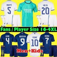 S-4XL Oyuncu Fanlar Gerçek Madrid Mbappe Formalar 21 22 Benzema Futbol Futbol Gömlek 2021 2022 Alaba Tehlike Asensio Modric Marcelo ISCO Camiseta Erkekler + Çocuk Seti