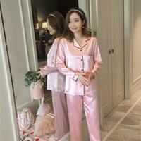 Womens Silk Satin Pijamas Pijamas Pijamas Set de manga larga Ropa de dormir Pijama Pijamas Traje hembra Dormir de dos piezas Set Loungewear Plus Tamaño 562 R2