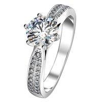 1CT Star Brilliant Sterling Silver Engagement Ringar för Kvinnor NSCD Simulerad Diamond Ring Micro Paved Anniversary Gift med Box