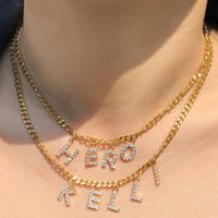 Chains Personalized Multilayer Cuban Chain Zircon Name Necklaces For Women Custom Diamond Necklace DIY Letter Choker Pendant Jewelry