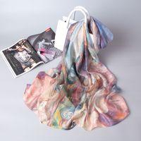 21 primavera e verão novo lenço de seda jacquard digital pintura a óleo de pintura de Óleo mulheres toalha de praia toalha de praia xale