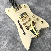 Billy Bo Jupiter Cream Fire Thunderbird Semi Hollow Body Electric Guitar Single F hole, Abalone Binding, Bigs Tremolo Bridge, Gold Hardware