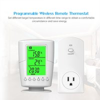 Smart Home Control Programmable Wireless Remote Thermostat LCD Screen + Plug In Socket Heating Cooling Program Temperature Controller