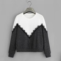 Women's Hoodies & Sweatshirts 2021 Spring Women Casual Fashion Lace Patchwork Long Sleeve Sweatshirt O Neck Pullover Tops Mujer