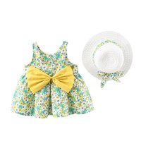 Girl's Dresses Summer Baby Dress For Kids Girls Sleeveless Bow Flower Print Princess Dress+hat Set Outfit Born Party Girl Clothes