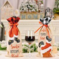 Weihnachten Champagner Weinflasche Abdeckung Santa Claus Geschenk Taschen Weihnachten Neujahr Dekoration Abendtisch Ornamente GWB10720