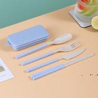 Conjunto de utensílios de mesa portáteis de palha de trigo conjunto de cartazes de mesa de faca de faca de faca destacável com caixa de armazenamento fwf10097