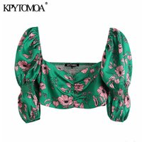 KPYTOMOA Kadınlar Tatlı Moda Çiçek Baskı Kırpılmış Bluzlar Vintage V Boyun Puf Kollu Geri Streç Kadın Gömlek Chic Tops 210302