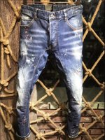 21s Mens jeans designer Ripped Skinny Trousers Moto biker hole Slim Fashion Brand Distressed ture Denim pants Hip hop Men D2 A217 dsquared2 dsquared 2 dsq