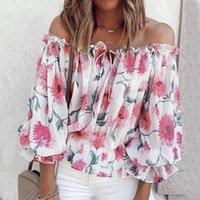 المرأة تي شيرت أنيقة قمم السيدات الصيف الشيفون الأزهار طباعة القصير الزى مثير الرقبة واحدة بارد زهرة الأعلى تي camiseta