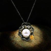 Simpatico collana della collana del pendente della perla bianca femminile che fa il fascino 14kt collane della catena dell oro nero per le donne delle catene del partito lungo del fiore dell'annata delle donne