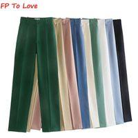 Женские брюки CAPRIS FP Для любви ZA Женщина Моранди Цвет повседневная винтажная прямая высокая талия шикарный шик полнометражные брюки кармана