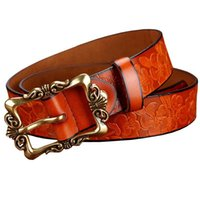 Belts Fashion Wide Genuine Leather For Women Vintage Floral Pin Buckle Woman Belt High Quality Second Layer Cow Skin Jeans Strap