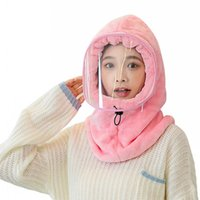 Outdoor Winter Riding Warm Hat Plush Transparent Face Cover With Transparent Mask Windproof Hats Scarf For Winter Weather