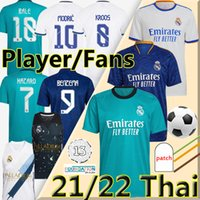 Nouveau 21/22 Real Madrid Maillots de foot Version Fan player 2021 2022 ALABA HAZARD BENZEMA SERGIO RAMOS ASENSIO MODRIC MARCELO jersey Hommes Enfants Kits maillot de football