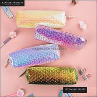 Pencil Cases Office Business & Industrialpencil Bags Iridescent Laser Case Pu Large Capacity Supplies Stationery Gift Storage Back To School