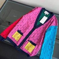 Красочные Пэчворк шаблон Свитера Мода Письмо жаккардовый кардиган свитер осень Личность Дизайнер Девочки Пальто